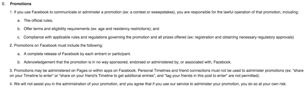 facebook guidelines and terms of service
