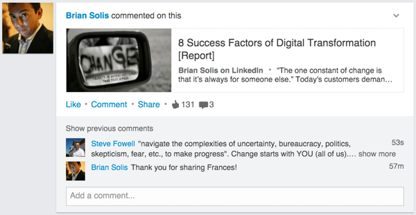 linkedin update example