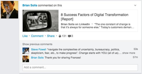 linkedin update example