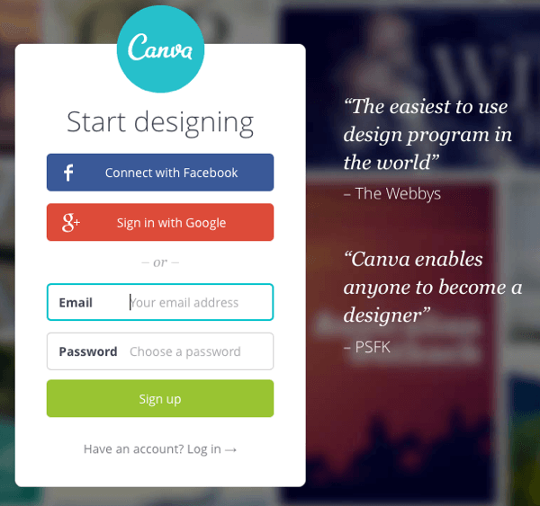 canva account signup