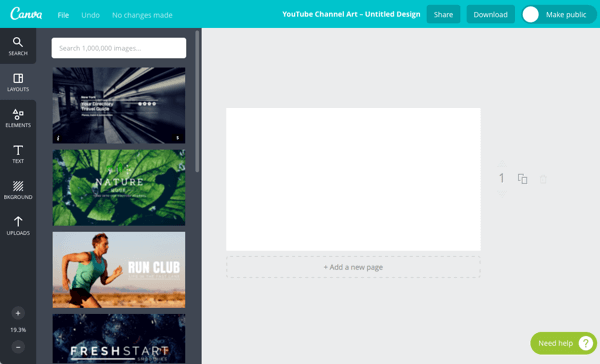 canva choose layout