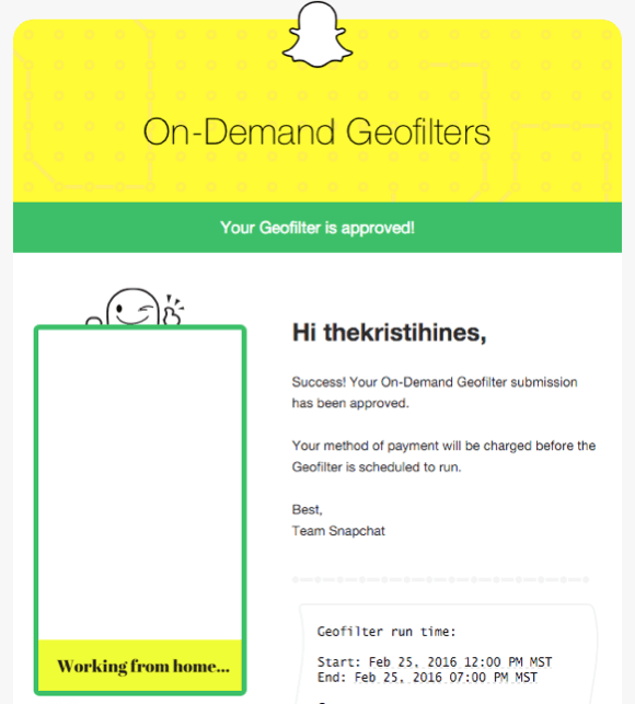 snapchat geofilter confirmation email