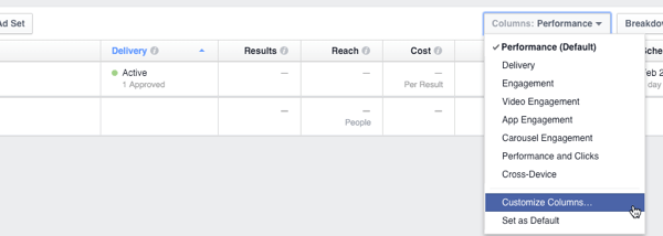 facebook insights canvas columns