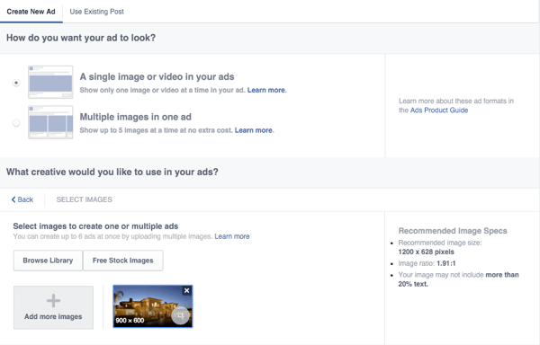 facebook canvas ad set up creative options