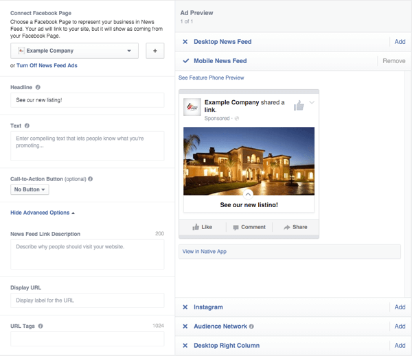 facebook canvas ad delivery options