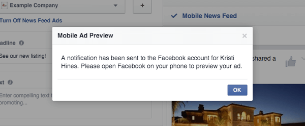 facebook canvas ad mobile preview notification