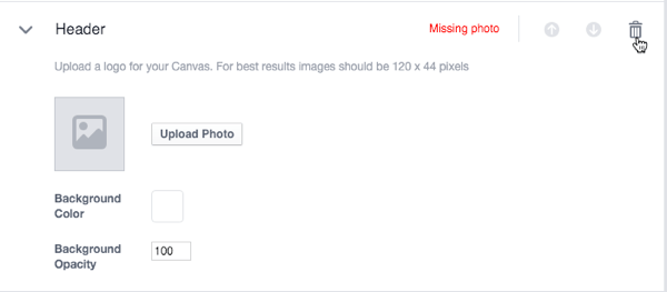 facebook canvas component options