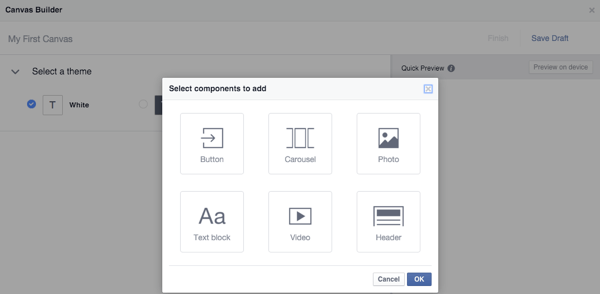 facebook canvas builder component types