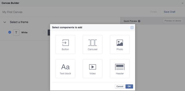 facebook canvas builder component types