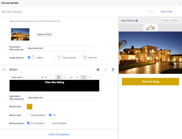 facebook canvas builder button component