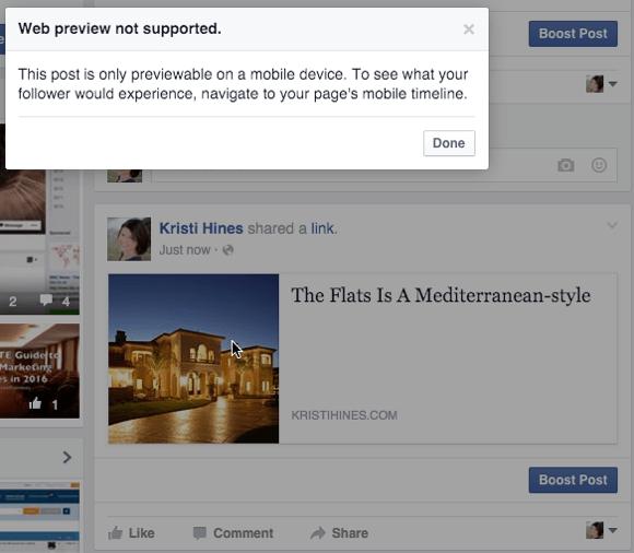 facebook canvas web preview message