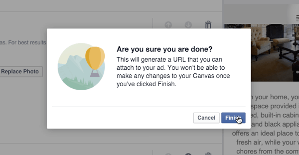 facebook canvas finish query