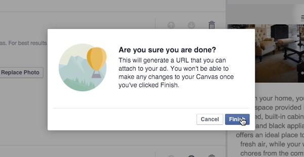 facebook canvas finish query