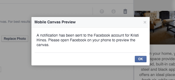 facebook canvas preview notification