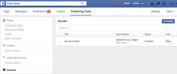 facebook canvas creation