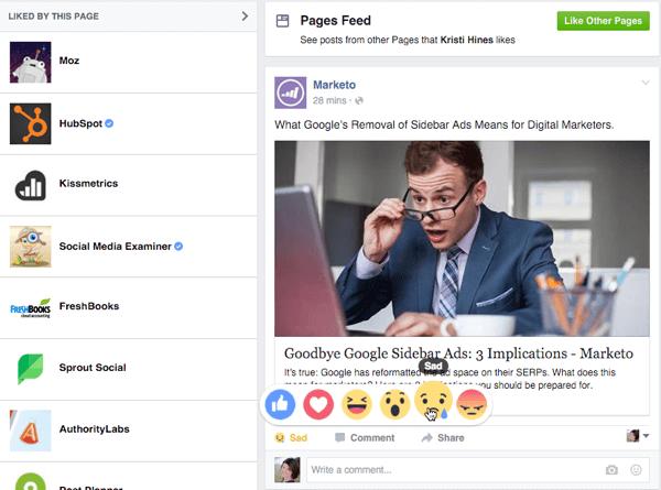 Reaktionen als Facebook-Seite verlassen