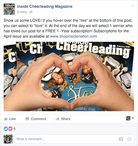 facebook page post combining reactions with a contest