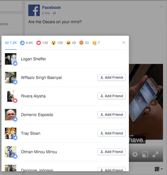 facebook reactions details from a competitor post