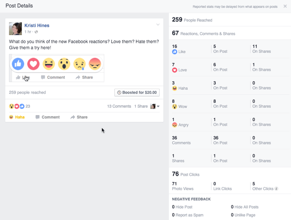 facebook reactions engagement from post
