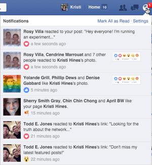 facebook reactions in notifications