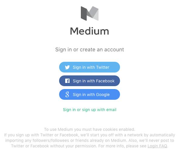 medium sign up