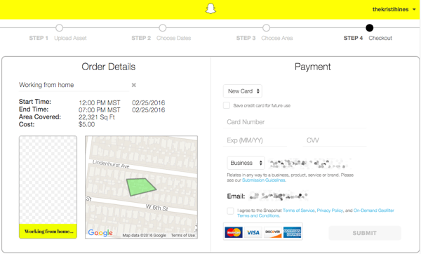 snapchat geofilter order payment