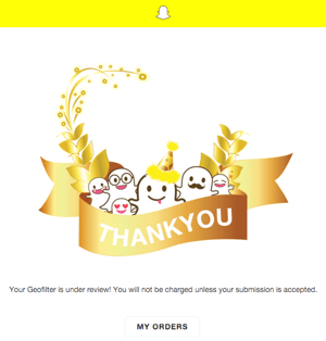 snapchat geofilter order confirmation