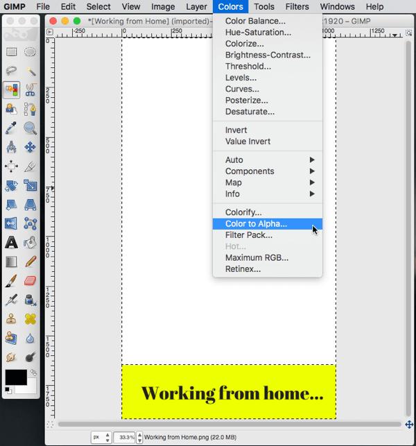 gimp image editing color to alpha option