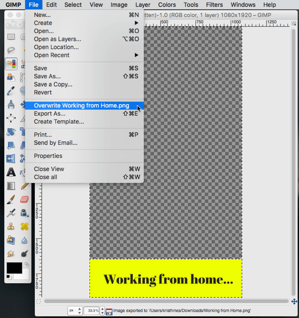 gimp image editing overwrite feature