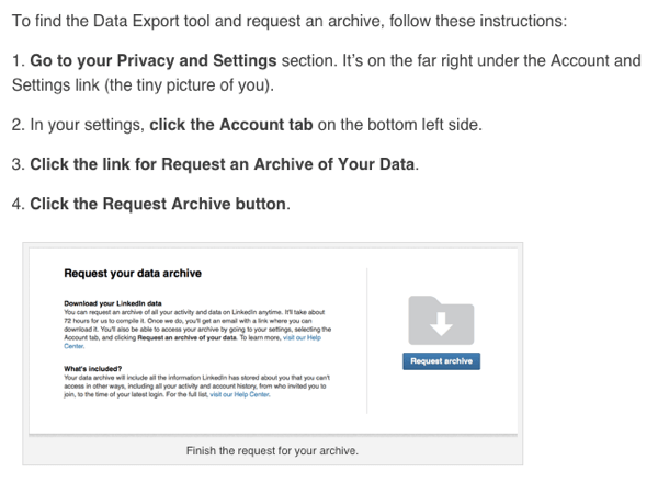 linkedin data export by viveka von rosen