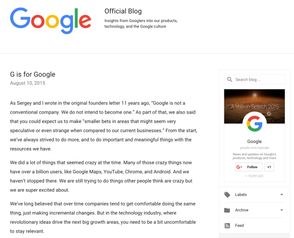 google rebranding announcement letter
