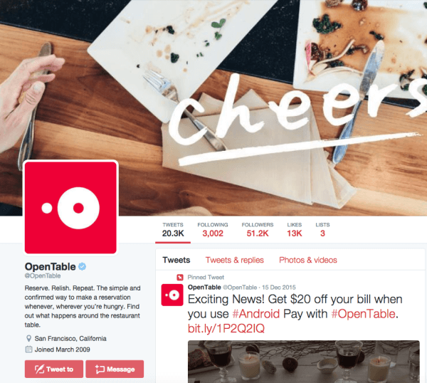 opentable twitter profile