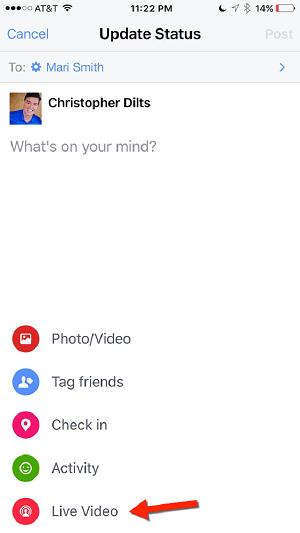 facebook live menu