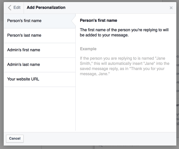 facebook add personalization