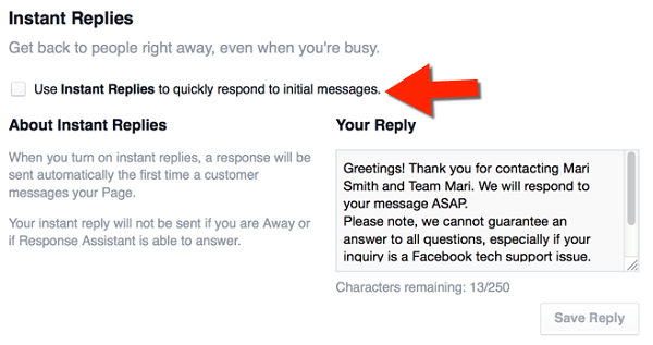 facebook instant replies