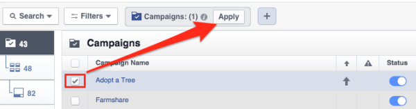 select your campaign and click apply