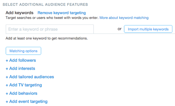 twitter website click keyword targeting