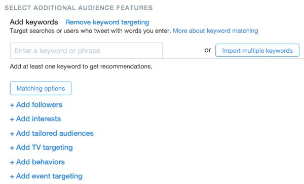 twitter website click keyword targeting