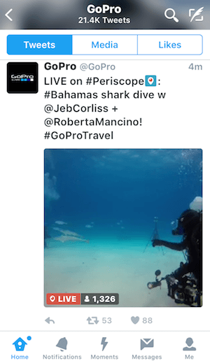 periscope broadcast in twitterfeed