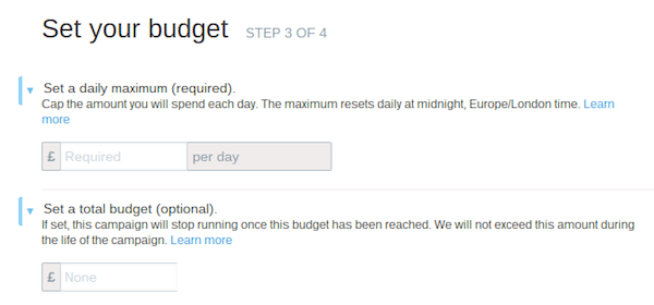 twitter ads campaign budget