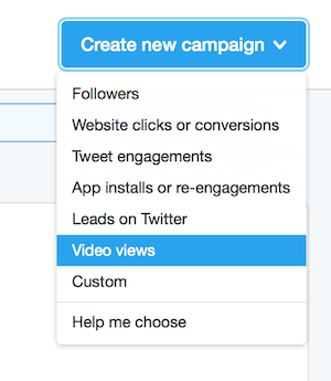 twitter ads objective dropdown menu