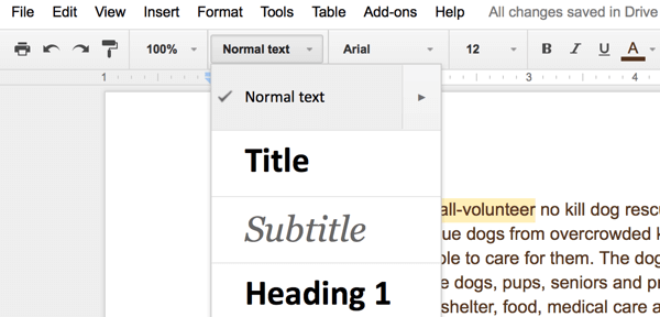 document formatting in google drive
