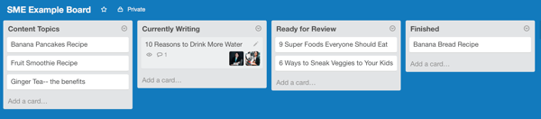 board cards in trello