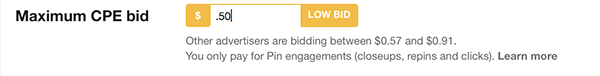 pinterest will tell you how your bid ranks