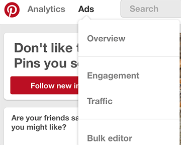 access the pinterest ads manager