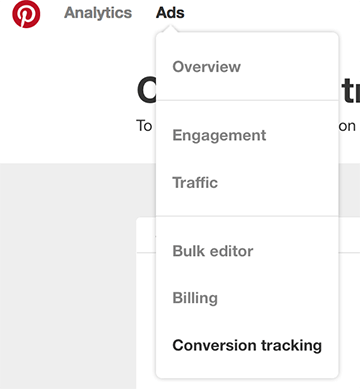 access conversion tracking from ads menu
