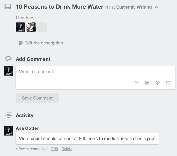 card comments in trello