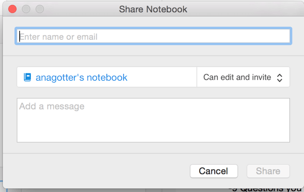 share a notebook in evernote