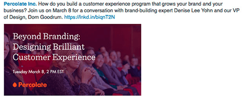 percolate inc linkedin ad for webinar