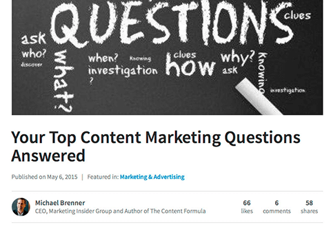 michael brenner linkedin publisher answering common marketing questions